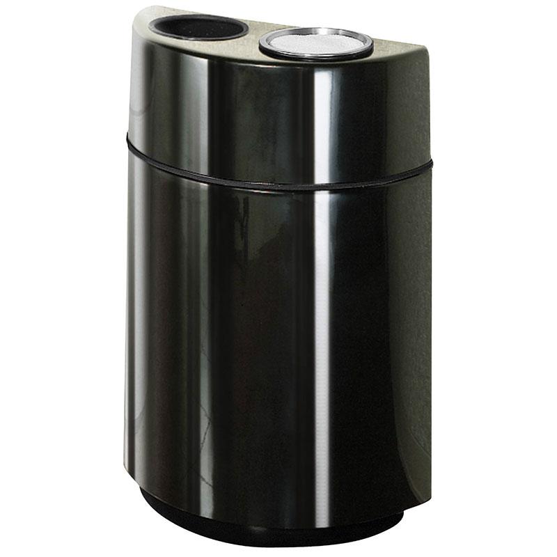 Rubbermaid FGFGH2436SUTPLBK 24-gal Ash/Trash Receptacle - Half Round Open Front, Fiberglass, Black
