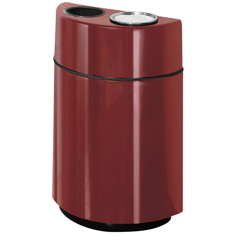 Rubbermaid FGFGH2436SUTPLBY 24-gal Ash/Trash Receptacle - Half Round Open Front, Fiberglass, Burgundy