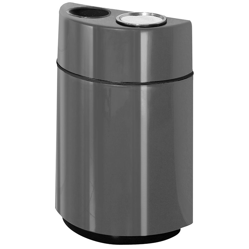 Rubbermaid FGFGH2436SUTPLCH 24-gal Ash/Trash Receptacle - Half Round Open Front, Fiberglass, Charcoal