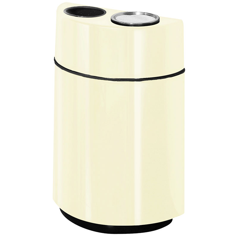 Rubbermaid FGFGH2436SUTPLIV 24-gal Ash/Trash Receptacle - Half Round Open Front, Fiberglass, Ivory