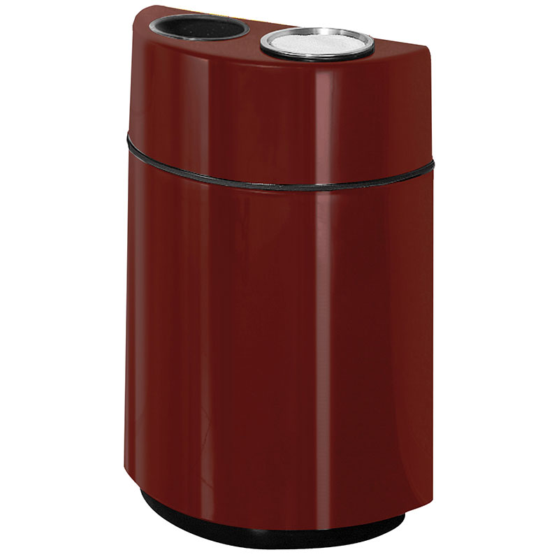 Rubbermaid FGFGH2436SUTPLMN 24-gal Ash/Trash Receptacle - Half Round Open Front, Fiberglass, Maroon