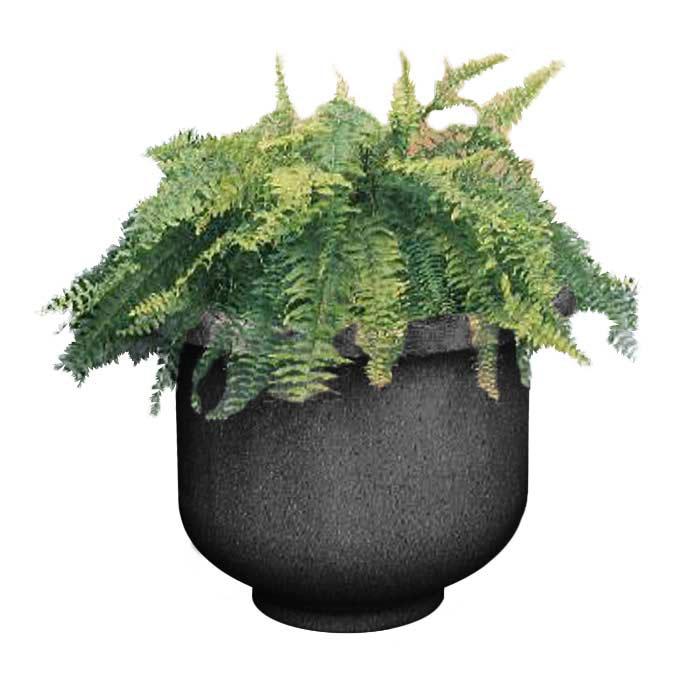 """Rubbermaid FGFGPL4830TRC Galleria Round Planter - 48x30"""" Fiberglass, Black"""