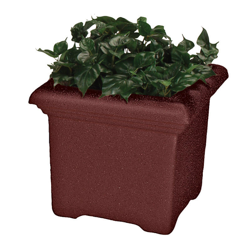 "Rubbermaid FGFGPT2119BY Tuscany Planter - Square, 21x21x19"" Fiberglass, Burgundy"