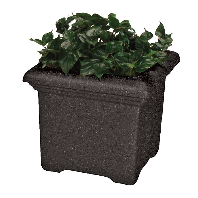 "Rubbermaid FGFGPT2424BKDH Tuscany Planter - Square, 24x24x24"" Fiberglass, Black"