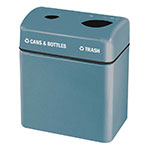 Rubbermaid FGFGR2416TPPLCBL 32-gal Recycling Center - 2-Section, Fiberglass, Country Blue