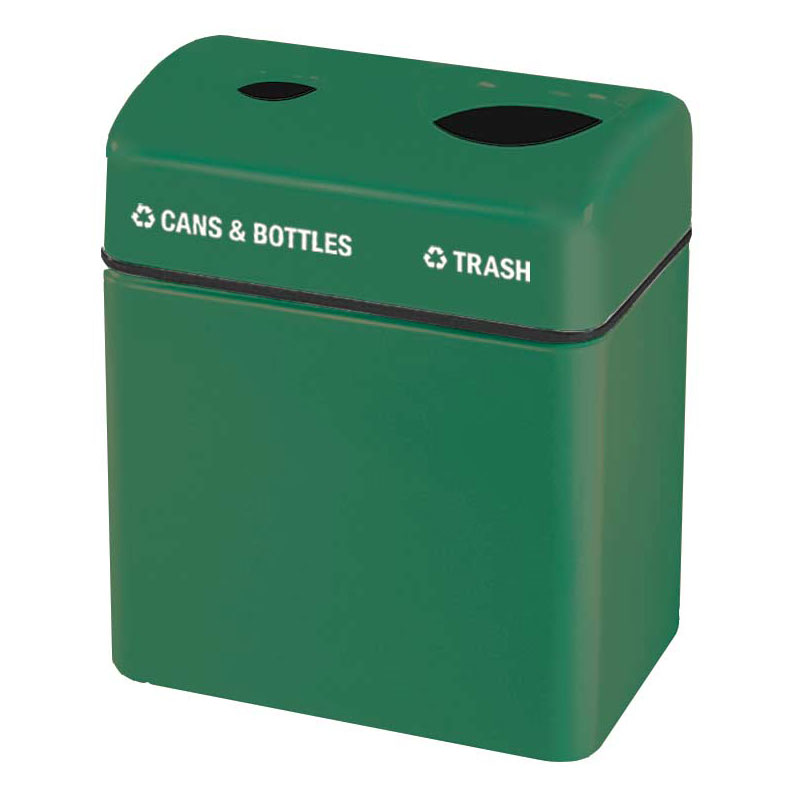 Rubbermaid FGFGR2416TPPLEGN 32-gal Recycling Center - 2-Section, Fiberglass, Empire Green
