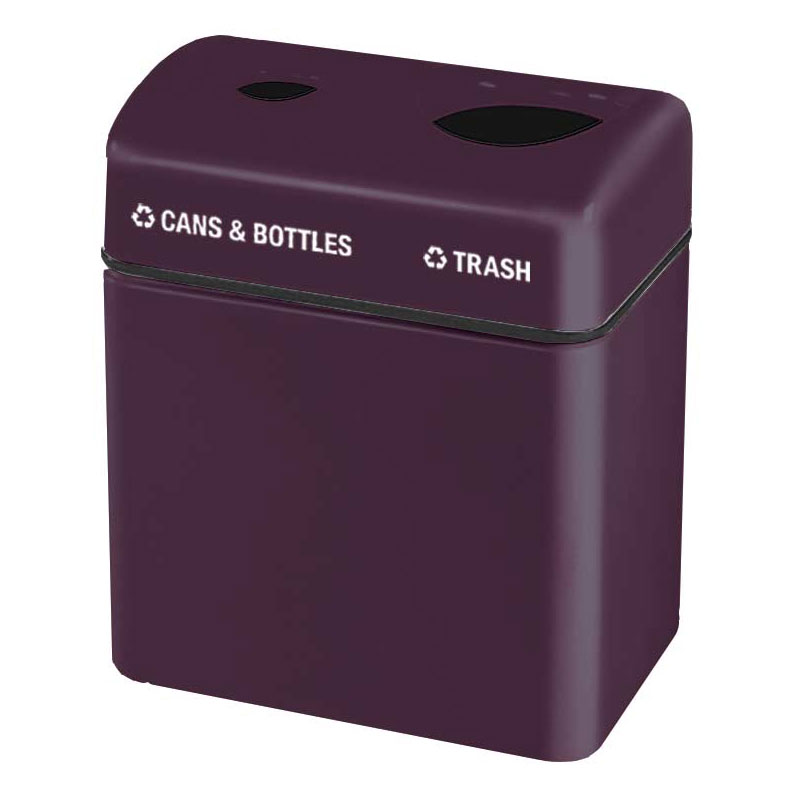 Rubbermaid FGFGR2416TPPLEGP 32-gal Recycling Center - 2-Section, Fiberglass, Eggplant