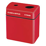 Rubbermaid FGFGR2416TPPLRD 32-gal Recycling Center - 2-Section, Fiberglass, Red