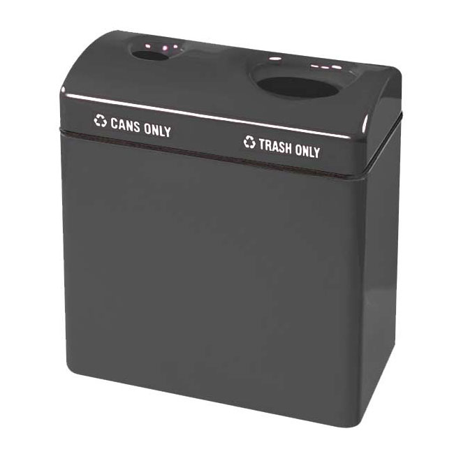 Rubbermaid FGFGR3418TCPLCH 46-gal Recycling Center - 2-Section, Fiberglass, Charcoal