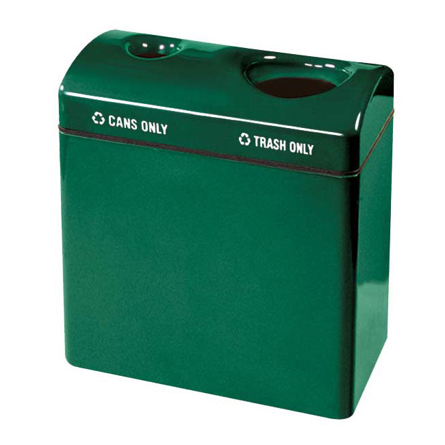 Rubbermaid FGFGR3418TCPLEGN 46-gal Recycling Center - 2-Section, Fiberglass, Empire Green