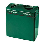 Rubbermaid FGFGR3418TPPLEGN 46-gal Recycling Center - 2-Section, Plastic Liner, Fiberglass, Empire Green