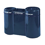 Rubbermaid FGFGR5220PLNBL 49-gal Recycling Center - 3-Section, Fiberglass, Navy Blue