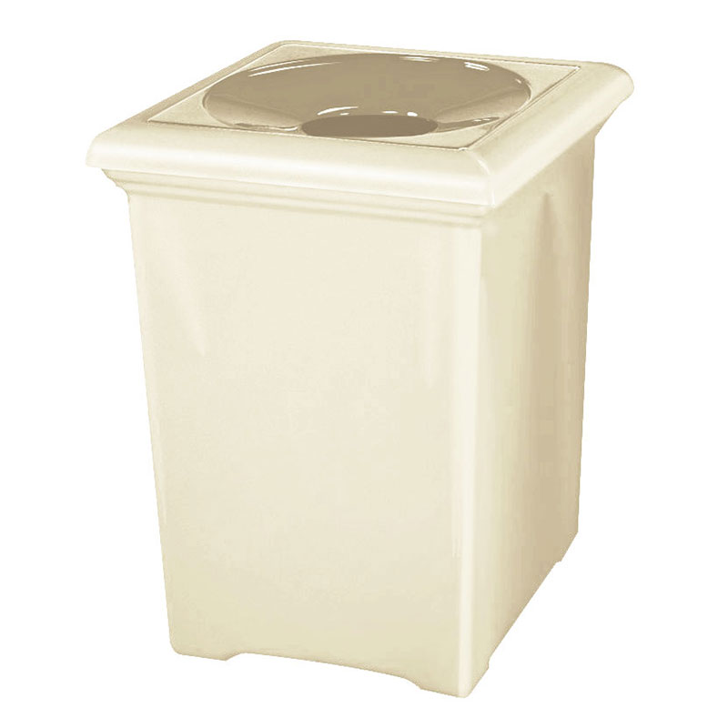 Rubbermaid FGFGT2433SQPLAL 34-gal Tuscany Waste Receptacle - Square, Fiberglass, Almond