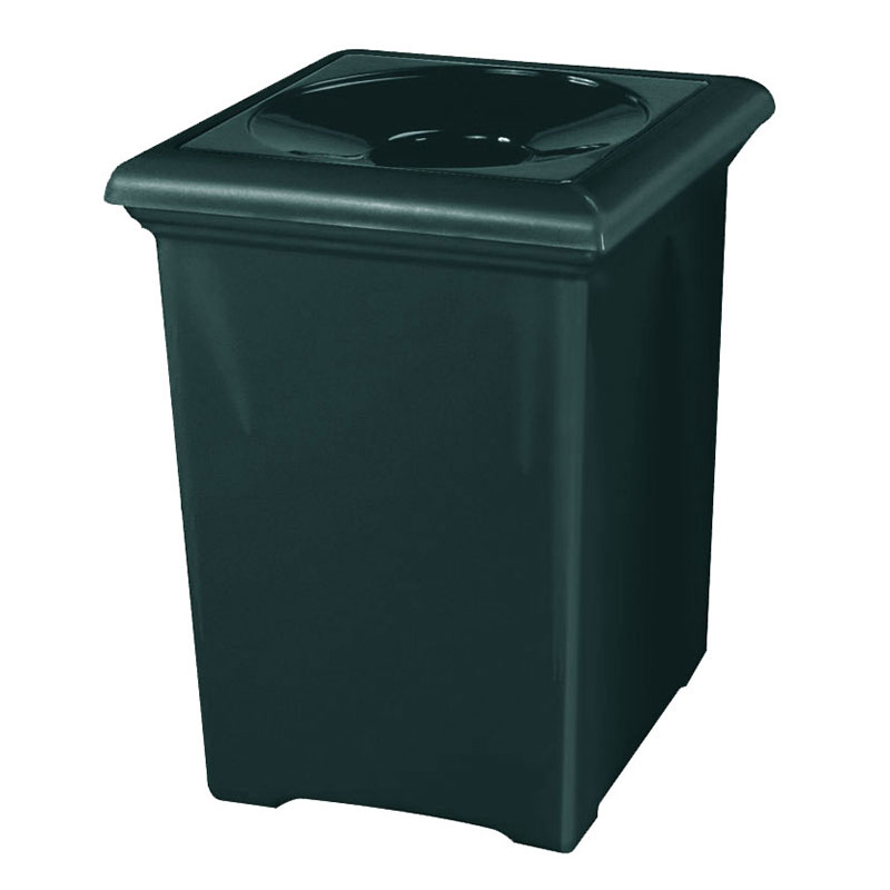 Rubbermaid FGFGT2433SQPLHGN 34-gal Tuscany Waste Receptacle - Square, Fiberglass, Hunter Green
