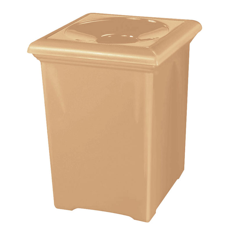 Rubbermaid FGFGT2433SQPLTN 34-gal Tuscany Waste Receptacle - Square, Fiberglass, Tan