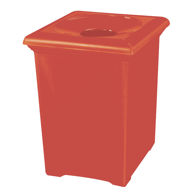 Rubbermaid FGFGT2433SQPLTRC 34-gal Tuscany Waste Receptacle - Square, Fiberglass, Terra Cotta