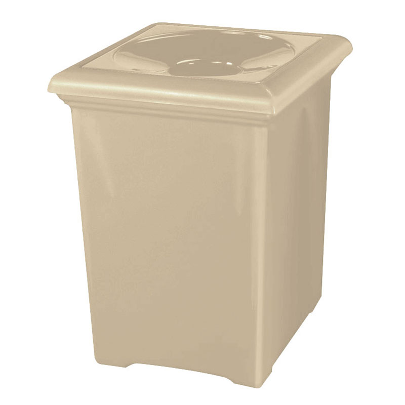 Rubbermaid FGFGT2433SQPLWMB 34-gal Tuscany Waste Receptacle - Square, Fiberglass, Warm Brown