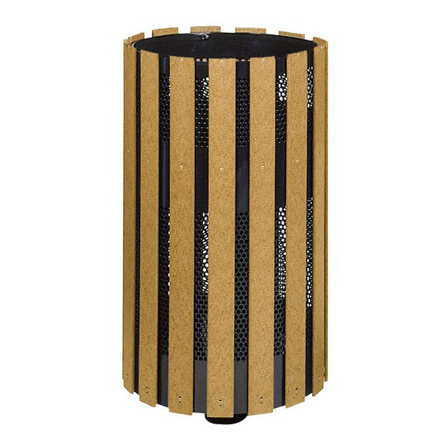 Rubbermaid FGH12SMC 34-gal Outdoor Decorative Trash Can - Metal & Wood, Cedar