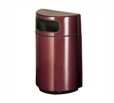 Rubbermaid FGFGH2436PLSGN 18-gal Waste Receptacle - Half Round Open Front, Fiberglass, Sea Green