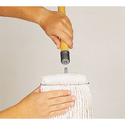"Rubbermaid FGH316000000 60"" Twister Wet Mop Handle - Screw-On Mop Head, Metal/Wood"