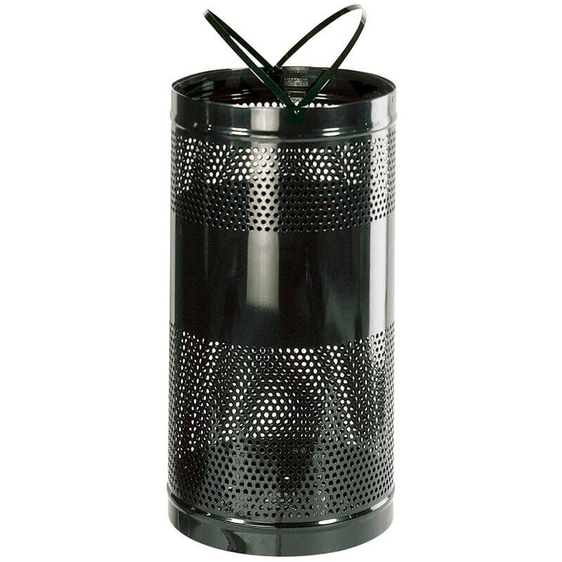 Rubbermaid FGH3BK 34-gal Outdoor Decorative Trash Can - Metal, Black