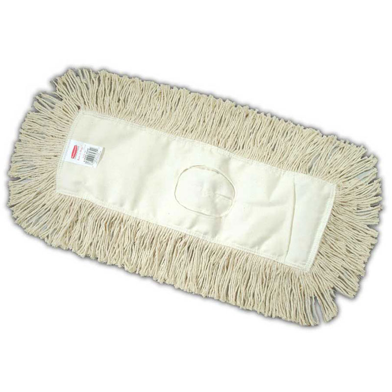 """Rubbermaid FGK75200WH00 Dust Mop - 18x5"""" Twisted Loop, Slip-On/Slip-Through Backing, White"""