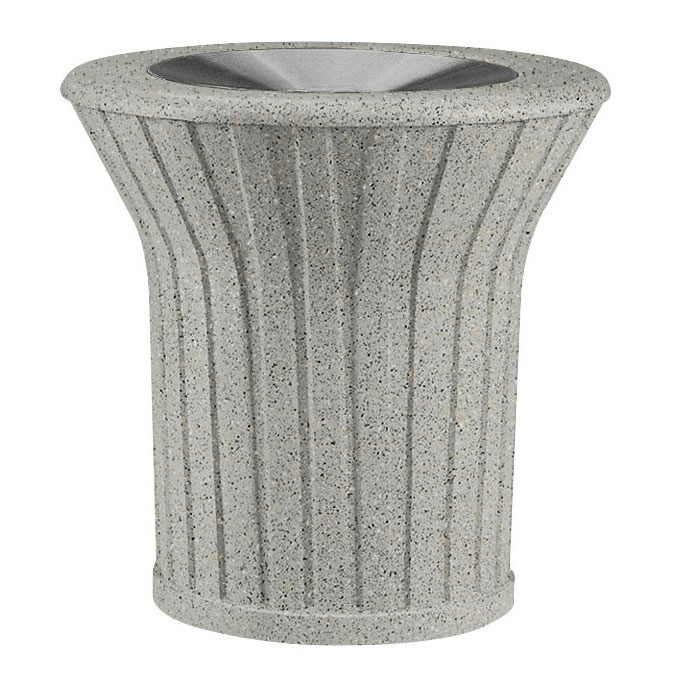 Rubbermaid FGKSM327000PL 21-gal Waste Receptacle - Open Top, Concrete, Gray/Gray