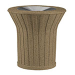 Rubbermaid FGKSM328000PL 21-gal Waste Receptacle - Open Top, Concrete, Bronze/Sierra Brown