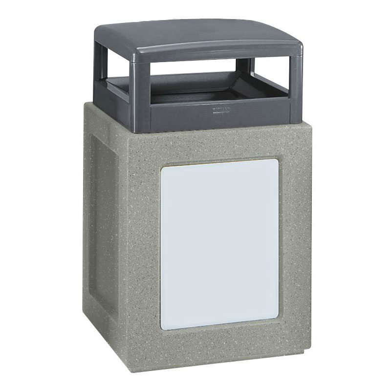 Rubbermaid FGKSR36WU7000PL 29-gal Waste Receptacle with Urn - Hinged Top, Concrete, Gray/Gray