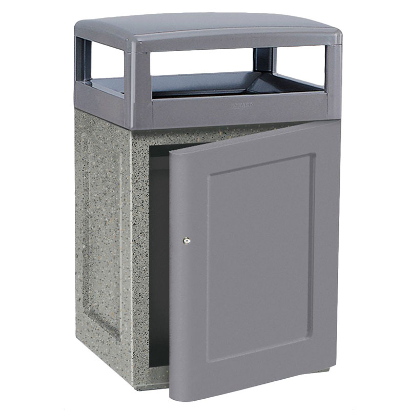 Rubbermaid FGKSR48SD7000PL 48-gal Waste Receptacle - Front Door, Concrete, Gray/Gray
