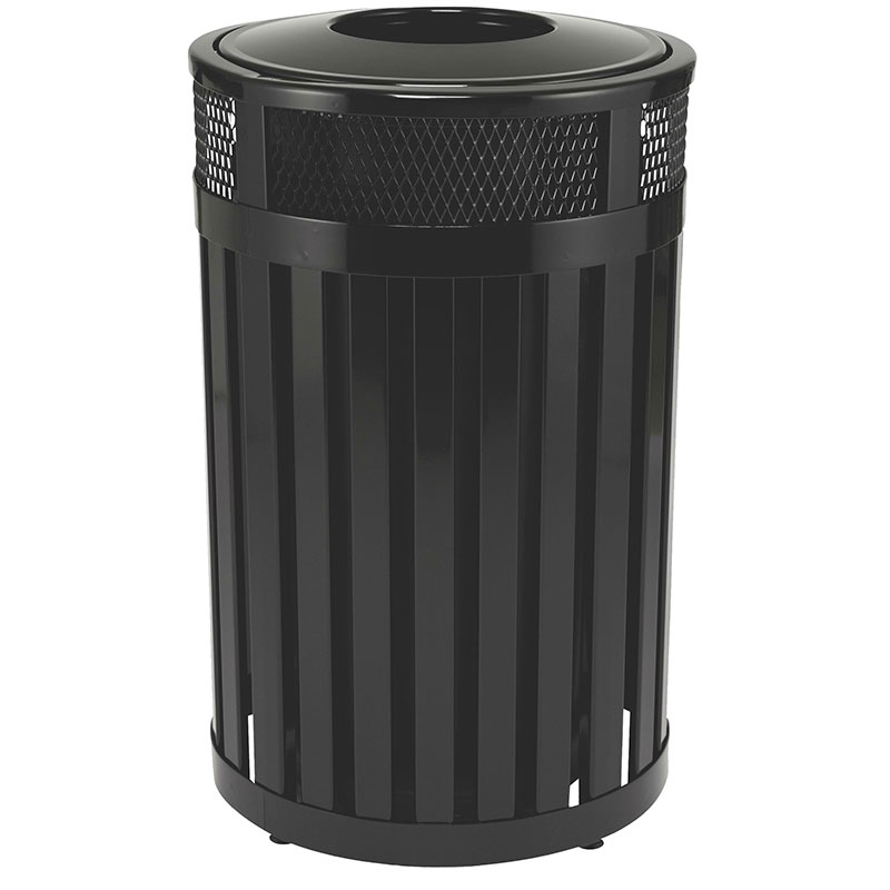 Rubbermaid FGMH24PLBK 24-gal Outdoor Decorative Trash Can - Metal, Black