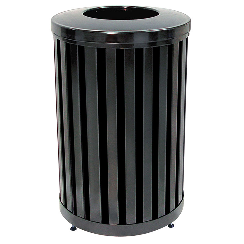Rubbermaid FGMH32PLBK 32-gal Outdoor Decorative Trash Can - Metal, Black