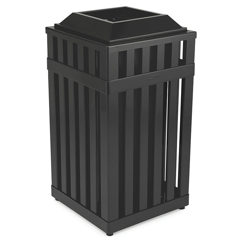 Rubbermaid FGMHSQ18PLBK 18-gal Outdoor Decorative Trash Can - Metal, Black