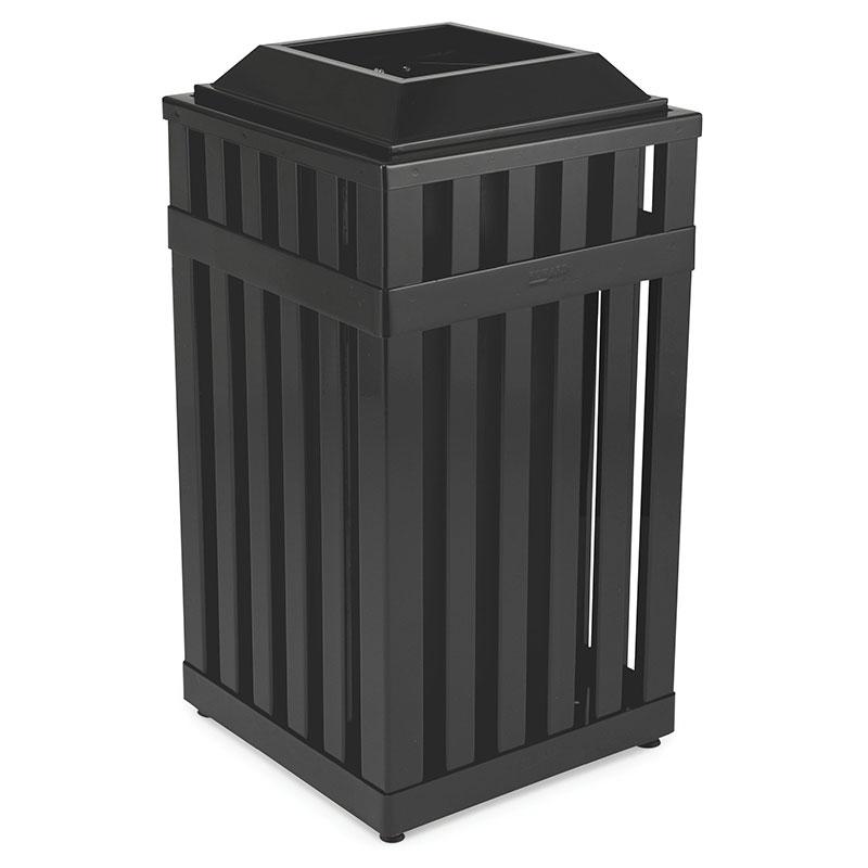 Rubbermaid FGMHSQ18PLBK 18-gal Avenue Waste Receptacle - Open Top, Steel Slat, Black