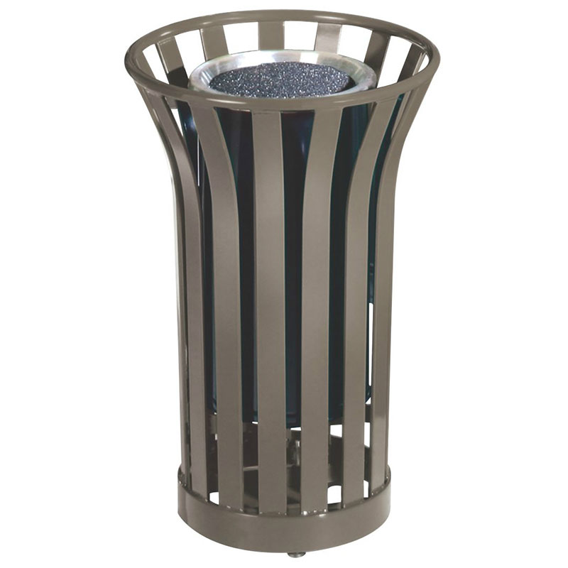Rubbermaid FGMT12GLABZ 24-gal American Trash Receptacle - Sand Urn Top, Steel Slat, Bronze