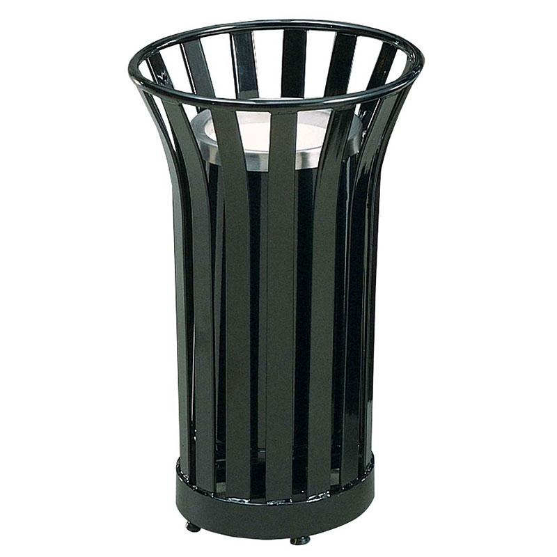 Rubbermaid FGMT12GLBK 24-gal American Trash Receptacle - Sand Urn Top, Steel Slat, Black