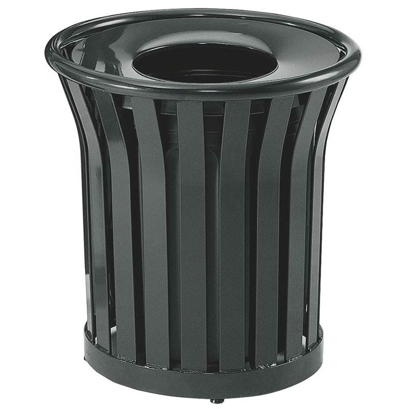 Rubbermaid FGMT22PLBK 24-gal American Trash Receptacle - Open Top, Steel Slat, Black