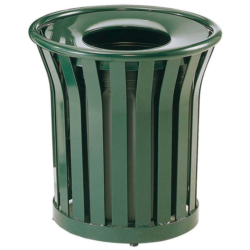 Rubbermaid FGMT22PLVSGN 24-gal American Trash Receptacle - Open Top, Steel Slat, Green