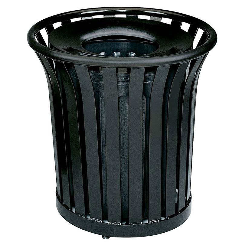 Rubbermaid FGMT32PLBK 36-gal Outdoor Decorative Trash Can - Metal, Black