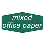 "Rubbermaid FGNCL10 Mixed Office Paper"" Recycling Decal - Green/White"