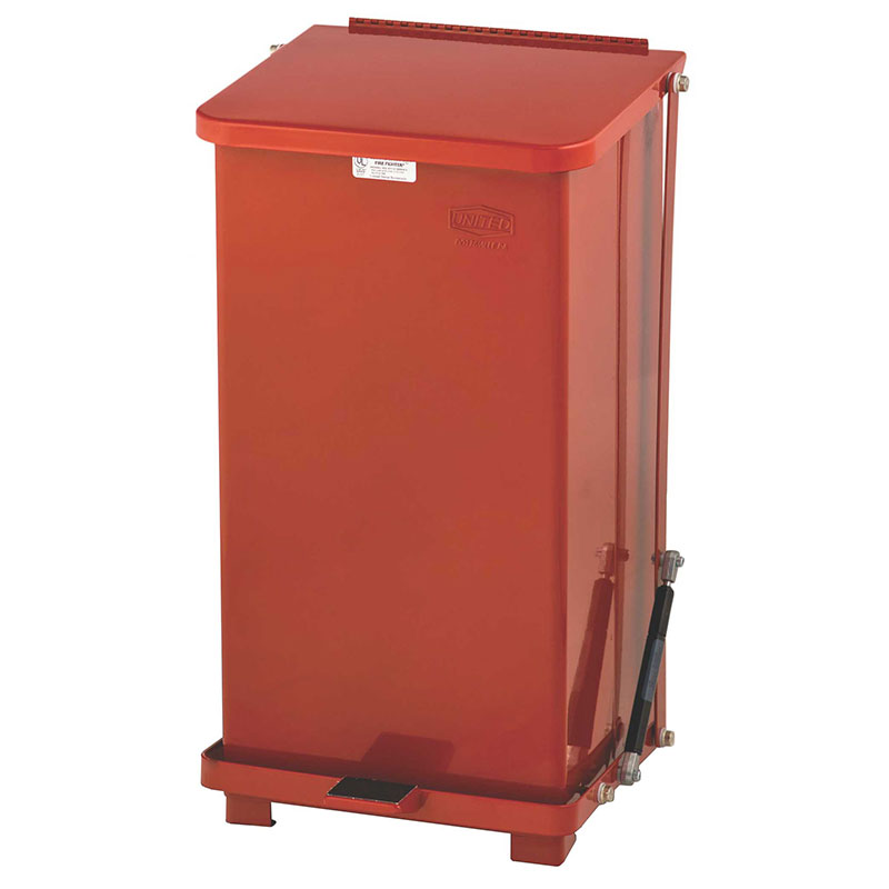 Rubbermaid FGQST12EPLRD 12-gal Silent Defender Step Waste Can - Rigid Plastic Liner, Red
