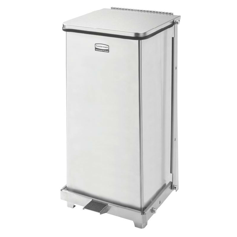 "Rubbermaid FGQST12SSRB 12-gal Square Metal Step Trash Can, 12""L x 12""W x 23""H, Stainless"