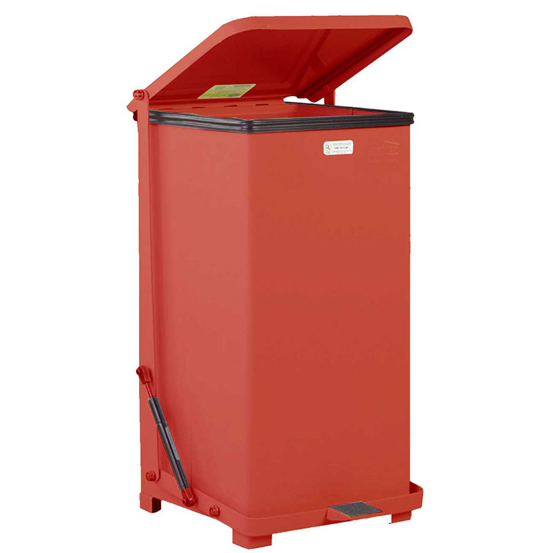 "Rubbermaid FGQST24EPLRD 4-gal Square Metal Step Trash Can, 15""L x 15""W x 30""H, Red"
