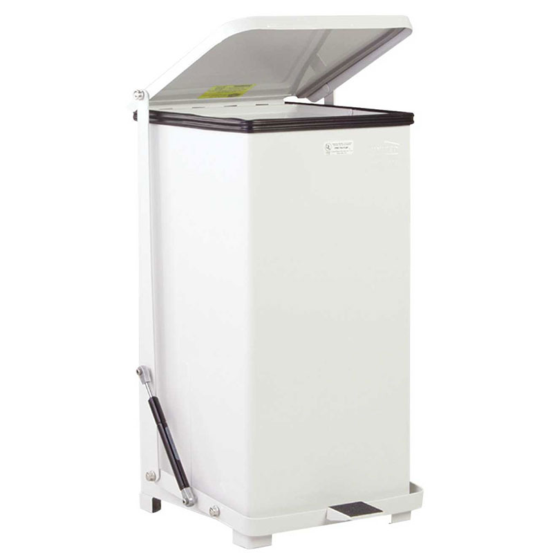 Rubbermaid FGQST24EPLWH 24-gal Silent Defender Step Waste Can - Rigid Plastic Liner, White