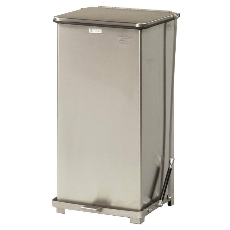 "Rubbermaid FGQST24SSPL 24-gal Square Metal Step Trash Can, 15""L x 15""W x 30""H, Stainless"