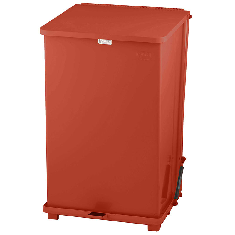 "Rubbermaid FGQST40EPLRD 40-gal Square Metal Step Trash Can, 19""L x 19""W x 30""H"