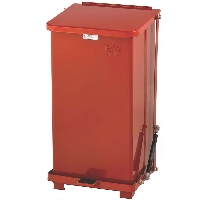 Rubbermaid FGQST40EWPLRD 40-gal Silent Defender Step Waste Can - Wheels, Rigid Plastic Liner, Red