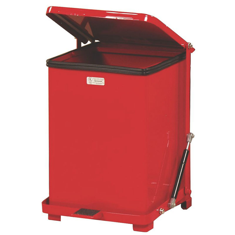 Rubbermaid FGQST40EWRBRD 40-gal Silent Defender Step Waste Can - Wheels, Red