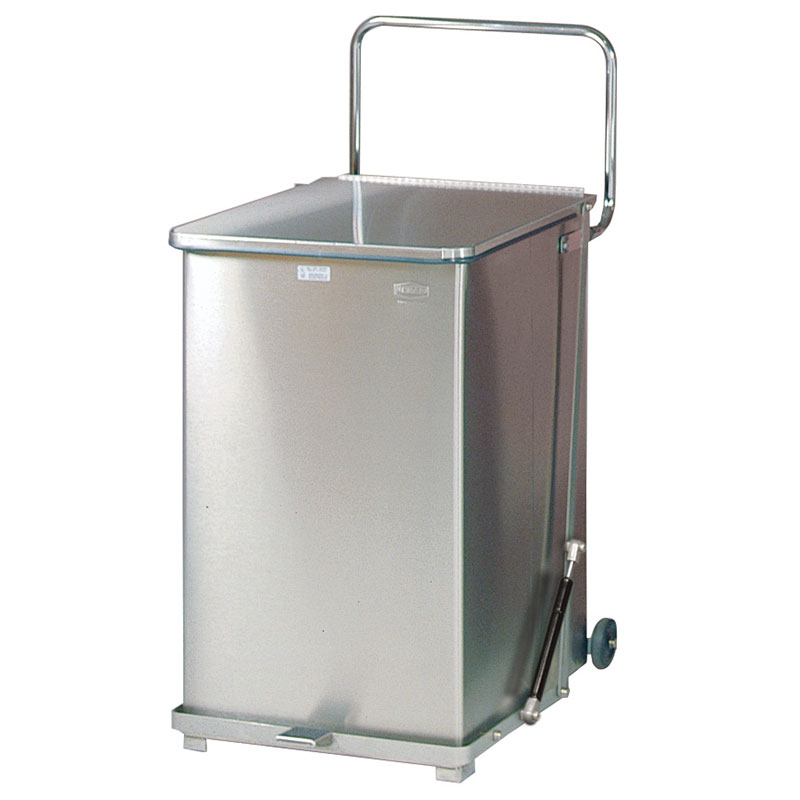 Rubbermaid FGQST40SWRB 40-gal Silent Defender Step Waste Can with Wheels - Stainless