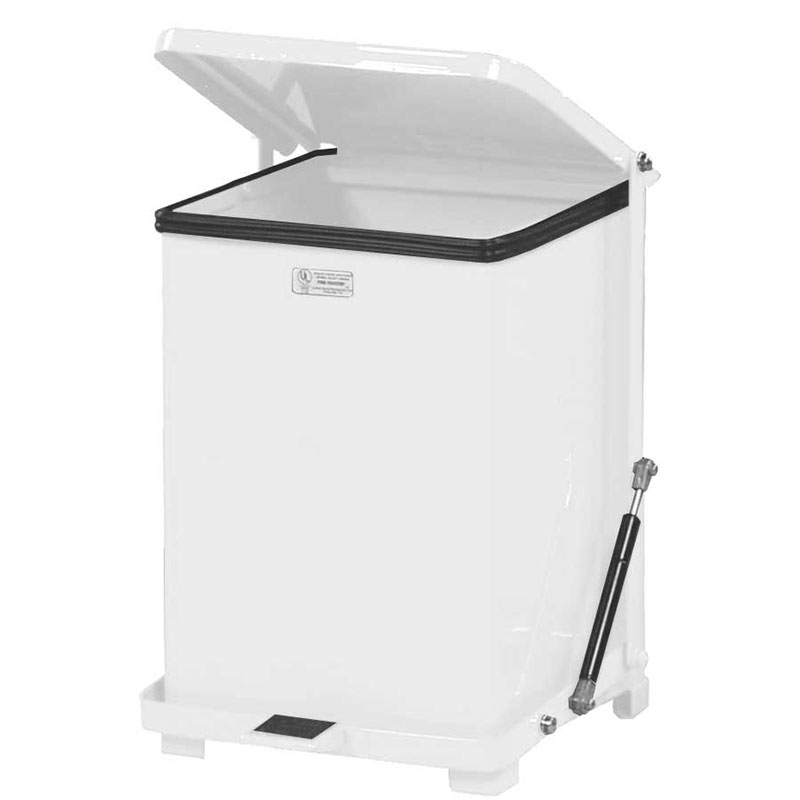 Rubbermaid FGQST7ERBWH 7-gal Silent Defender Step Waste Can - White